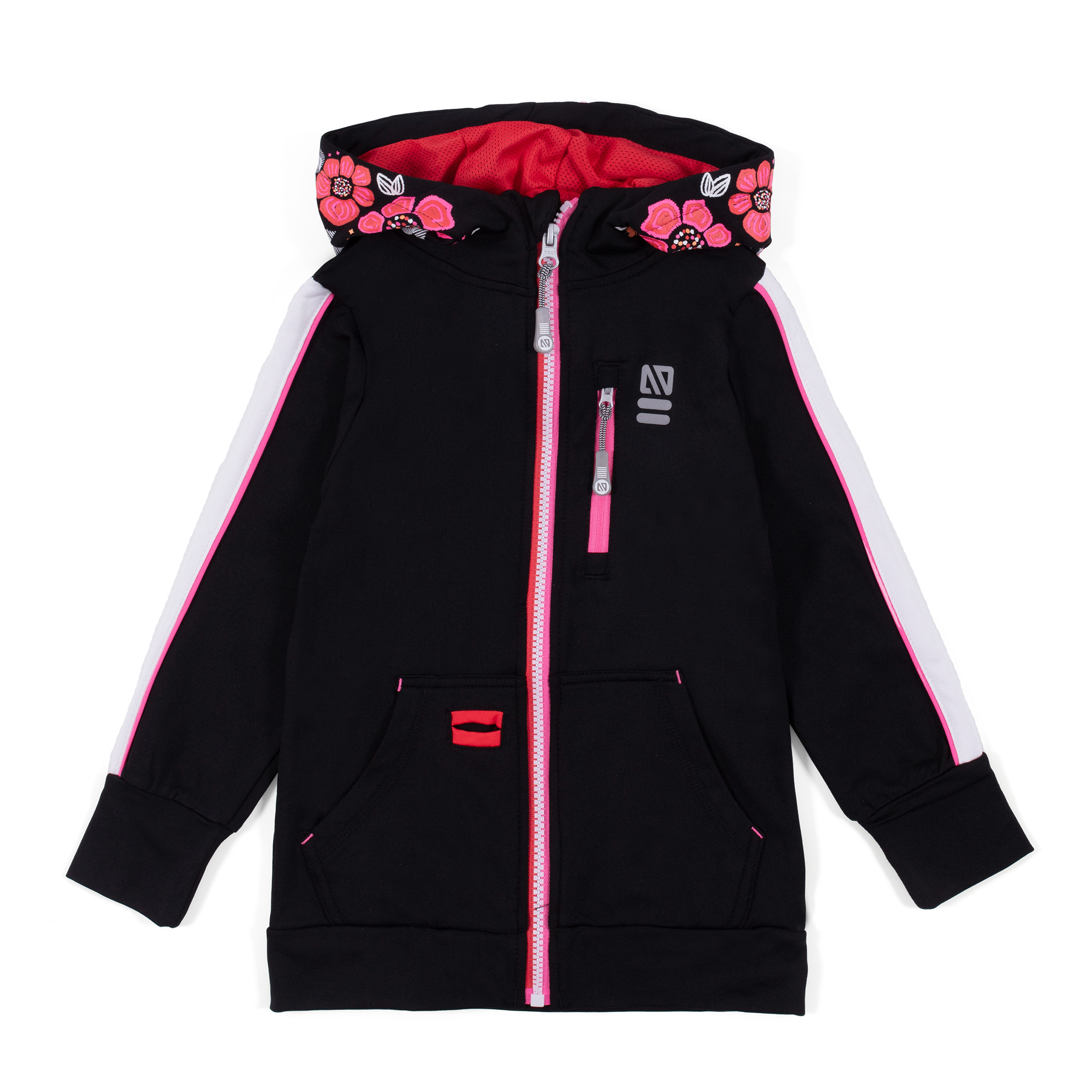 Athletic zip hoodie - Black - Girls