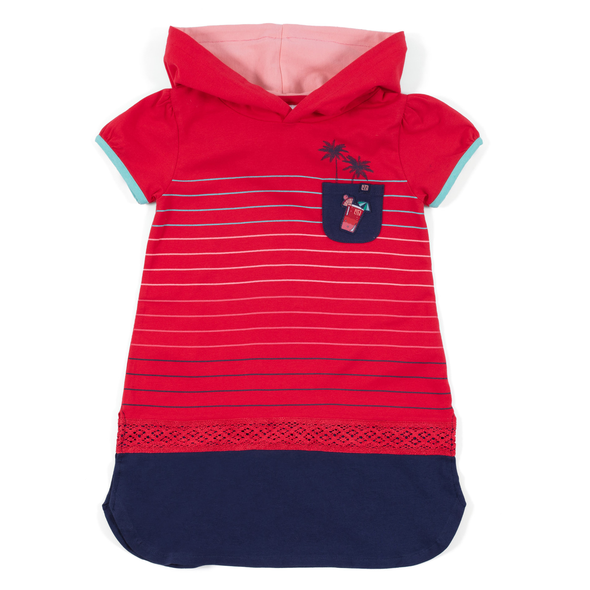 Hooded tunic - Red - Girls