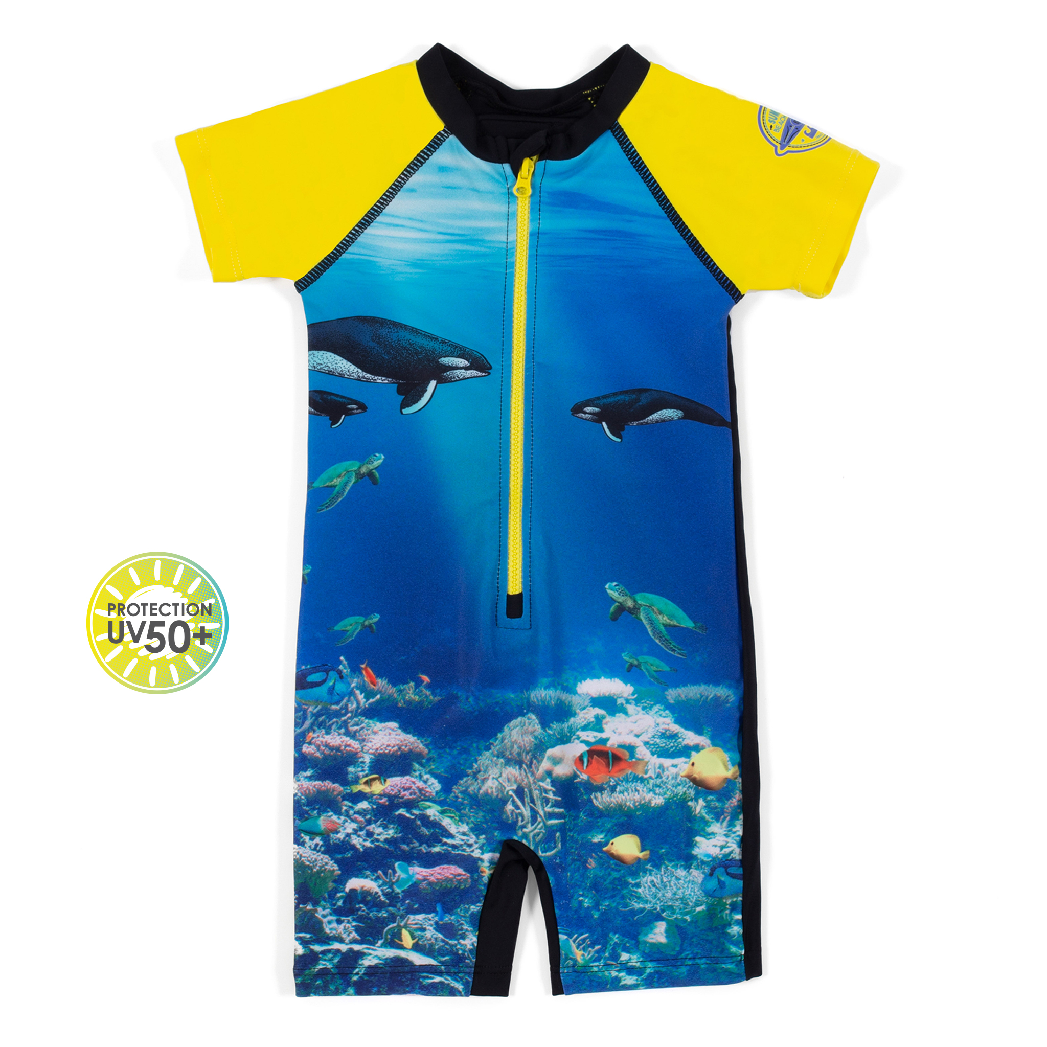 One-piece rashguard swimsuit - Royal - Boys